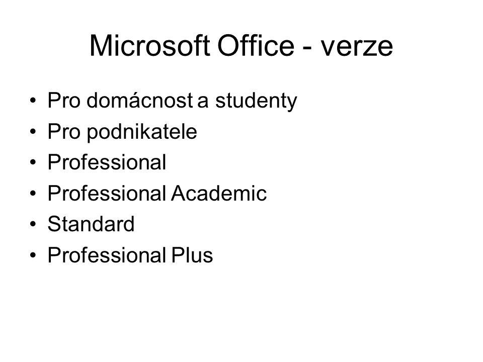 Microsoft Office - verze Pro domácnost a studenty Pro podnikatele Professional Professional Academic Standard Professional Plus