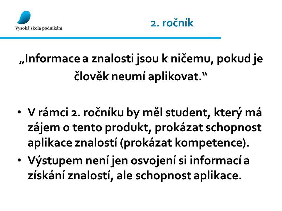"""2. ročník """"Informace a znalosti jsou k ničemu, pokud je člověk neumí aplikovat. V rámci 2."""