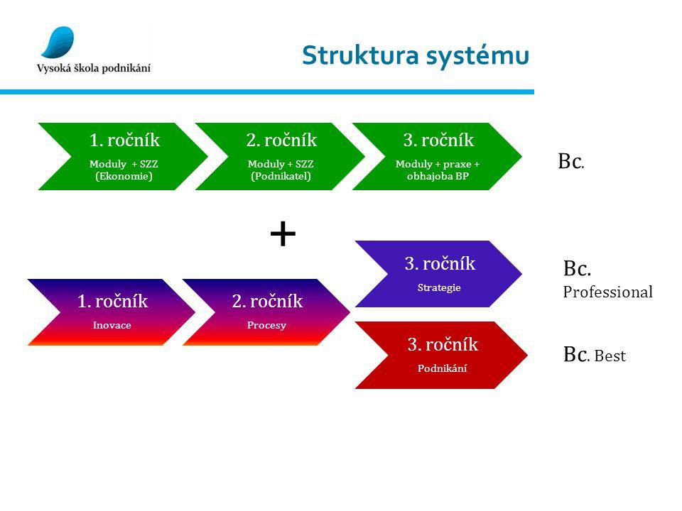 Struktura systému 1. ročník Moduly + SZZ (Ekonomie) 2.