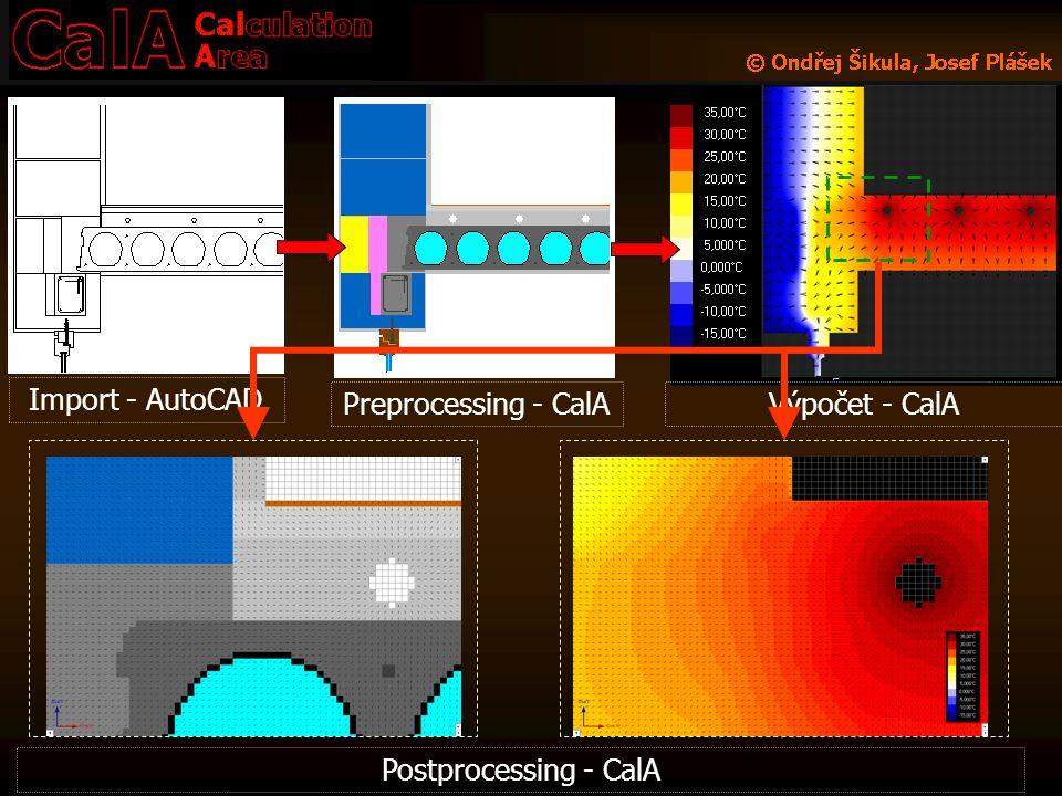 Import - AutoCAD Preprocessing - CalA Výpočet - CalA Postprocessing - CalA
