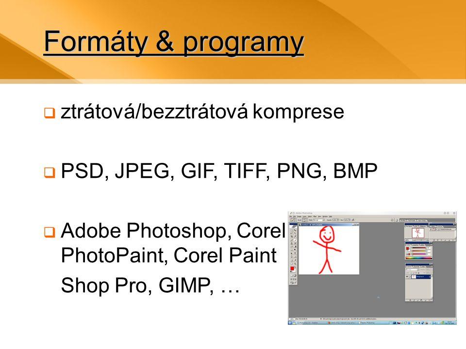 Formáty & programy  ztrátová/bezztrátová komprese  PSD, JPEG, GIF, TIFF, PNG, BMP  Adobe Photoshop, Corel PhotoPaint, Corel Paint Shop Pro, GIMP, …