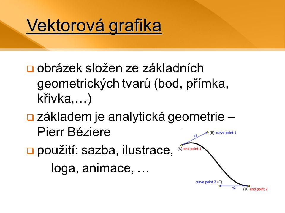 Vektorová grafika  obrázek složen ze základních geometrických tvarů (bod, přímka, křivka,…)  základem je analytická geometrie – Pierr Béziere  použití: sazba, ilustrace, loga, animace, …