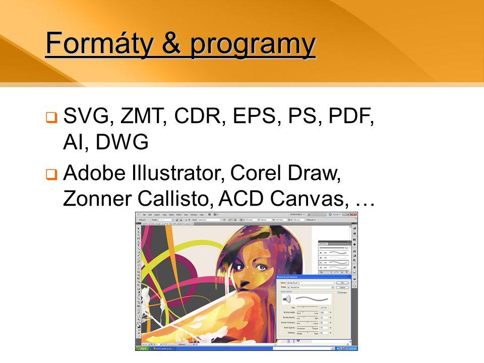 Formáty & programy  SVG, ZMT, CDR, EPS, PS, PDF, AI, DWG  Adobe Illustrator, Corel Draw, Zonner Callisto, ACD Canvas, …