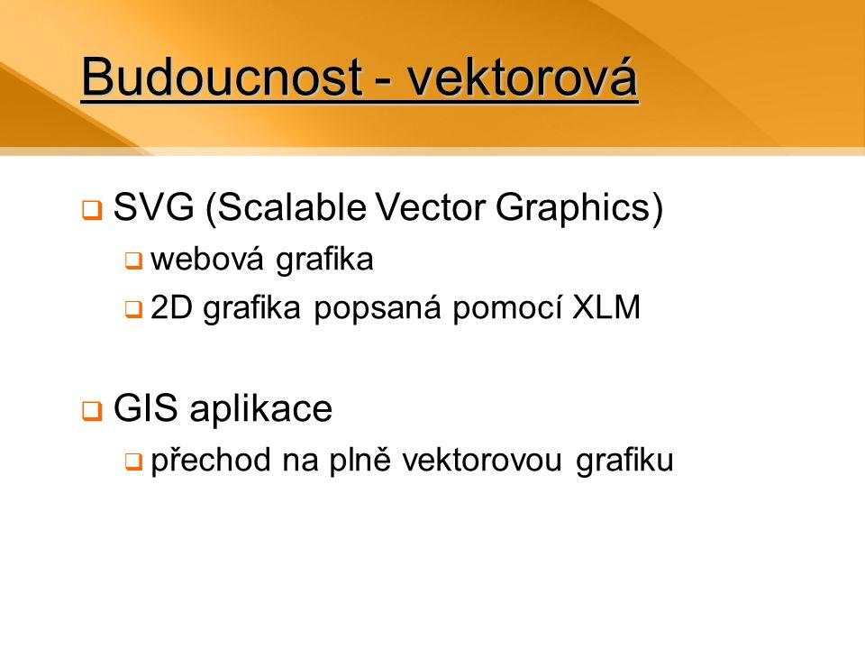 Budoucnost - vektorová  SVG (Scalable Vector Graphics)  webová grafika  2D grafika popsaná pomocí XLM  GIS aplikace  přechod na plně vektorovou grafiku