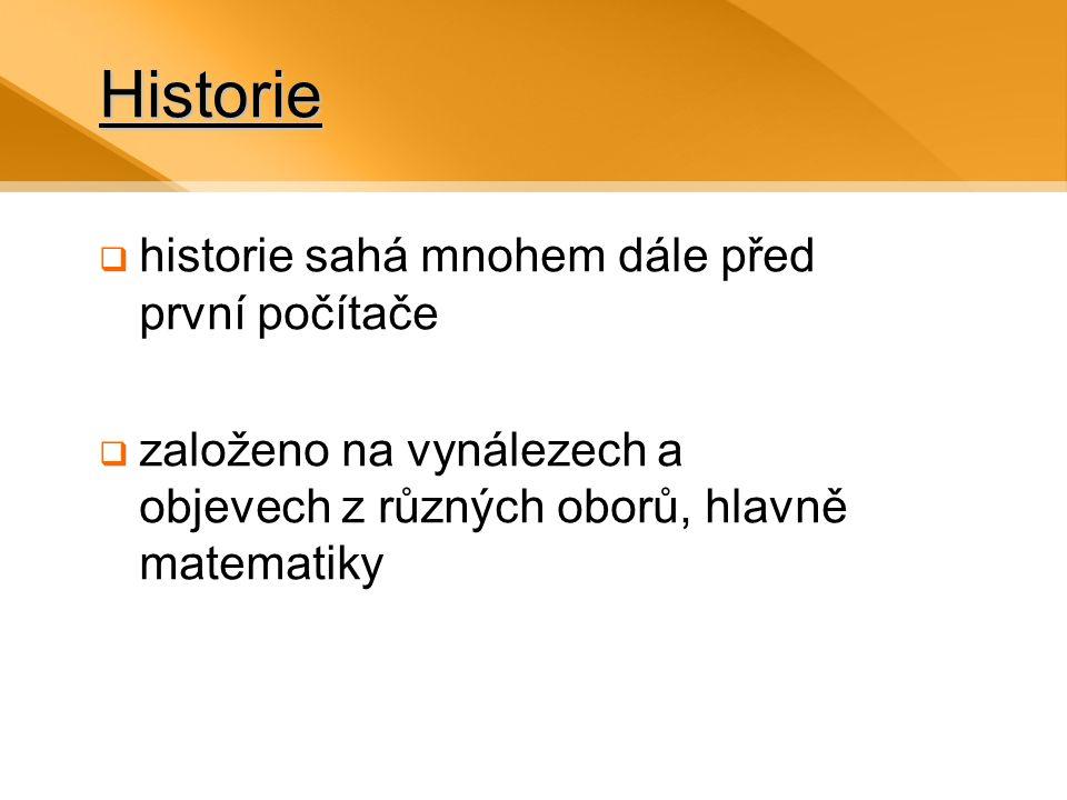 Historie  historie sahá mnohem dále před první počítače  založeno na vynálezech a objevech z různých oborů, hlavně matematiky