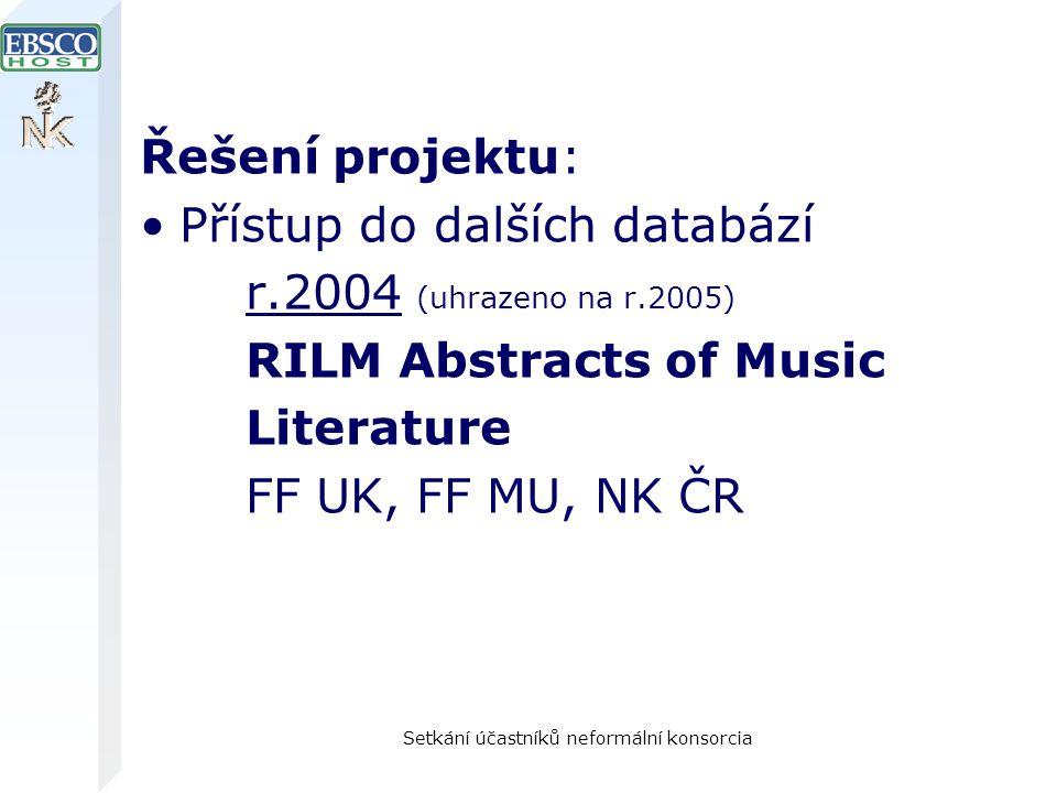 Setkání účastníků neformální konsorcia Řešení projektu: Přístup do dalších databází r.2004 (uhrazeno na r.2005) RILM Abstracts of Music Literature FF UK, FF MU, NK ČR