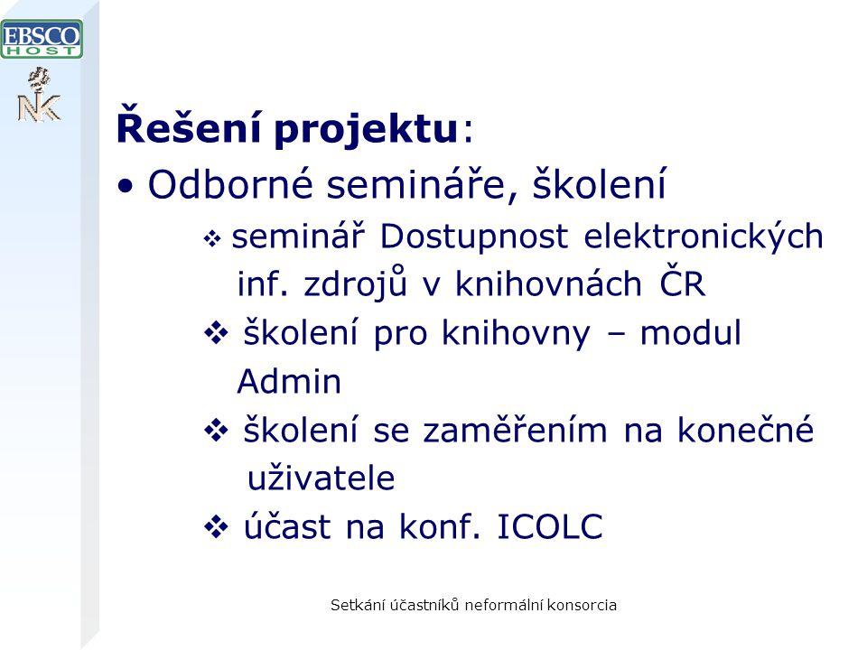 Setkání účastníků neformální konsorcia Řešení projektu: Odborné semináře, školení  seminář Dostupnost elektronických inf.