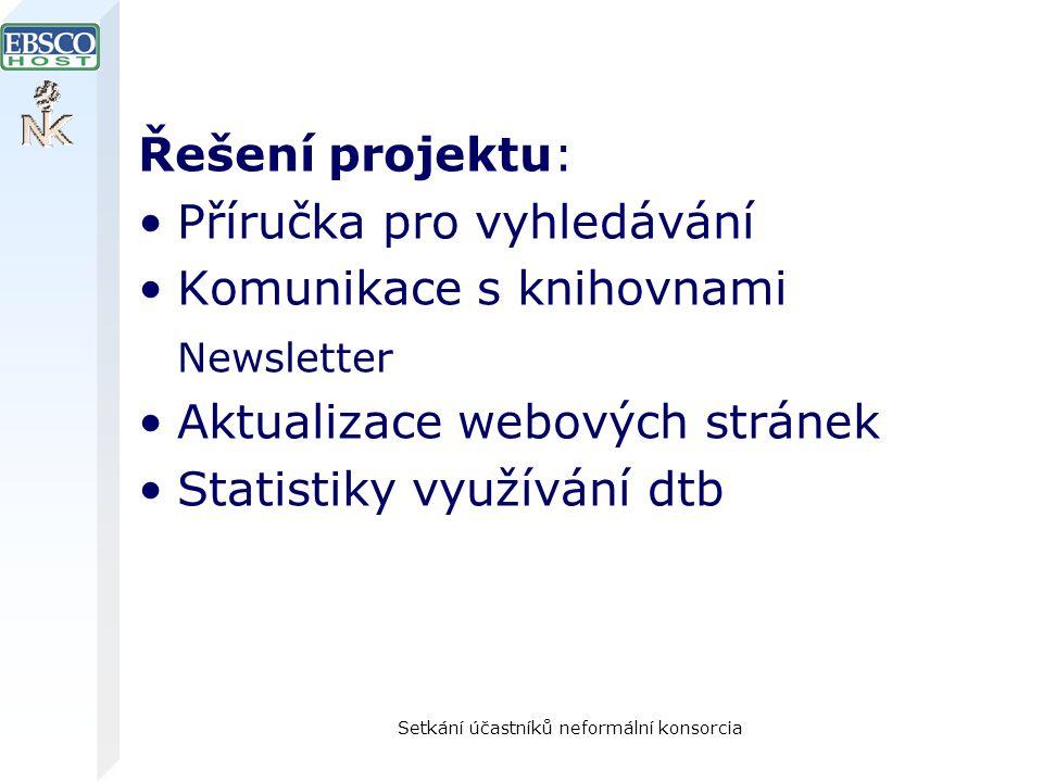 Setkání účastníků neformální konsorcia Řešení projektu: Příručka pro vyhledávání Komunikace s knihovnami Newsletter Aktualizace webových stránek Statistiky využívání dtb