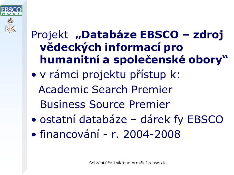 """Setkání účastníků neformální konsorcia Projekt """"Databáze EBSCO – zdroj vědeckých informací pro humanitní a společenské obory v rámci projektu přístup k: Academic Search Premier Business Source Premier ostatní databáze – dárek fy EBSCO financování - r."""