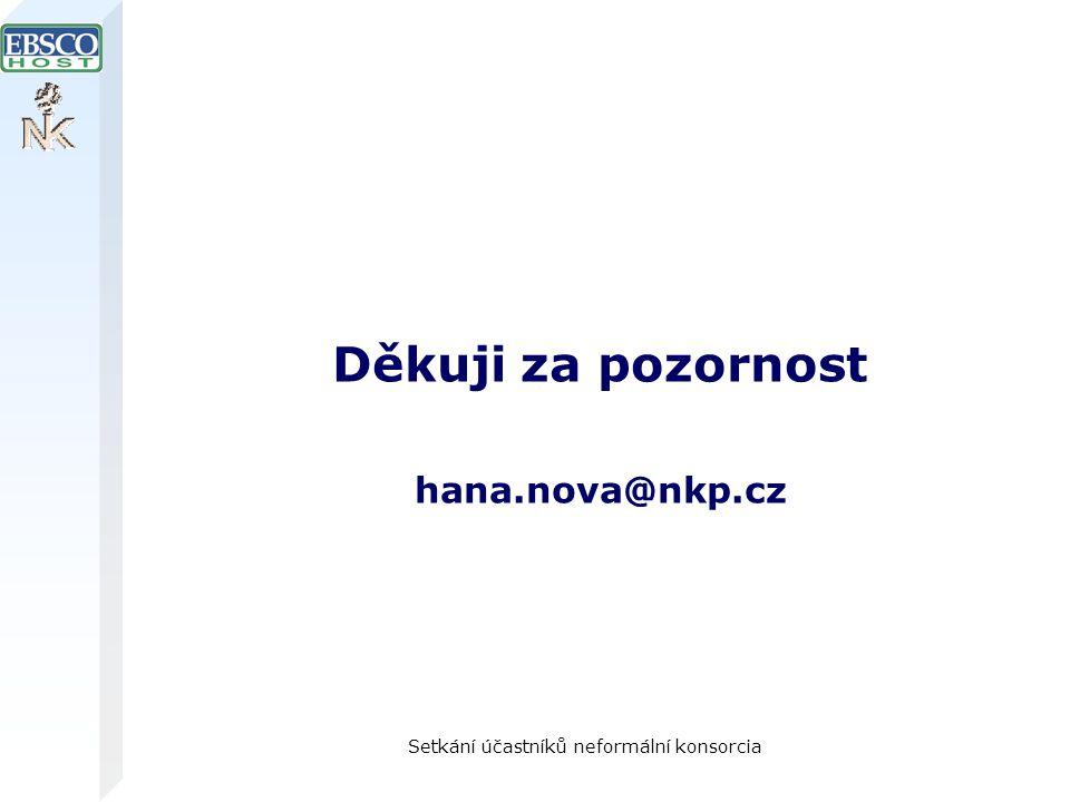 Setkání účastníků neformální konsorcia Děkuji za pozornost hana.nova@nkp.cz