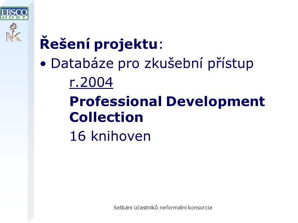 Setkání účastníků neformální konsorcia Řešení projektu: Databáze pro zkušební přístup r.2004 Professional Development Collection 16 knihoven