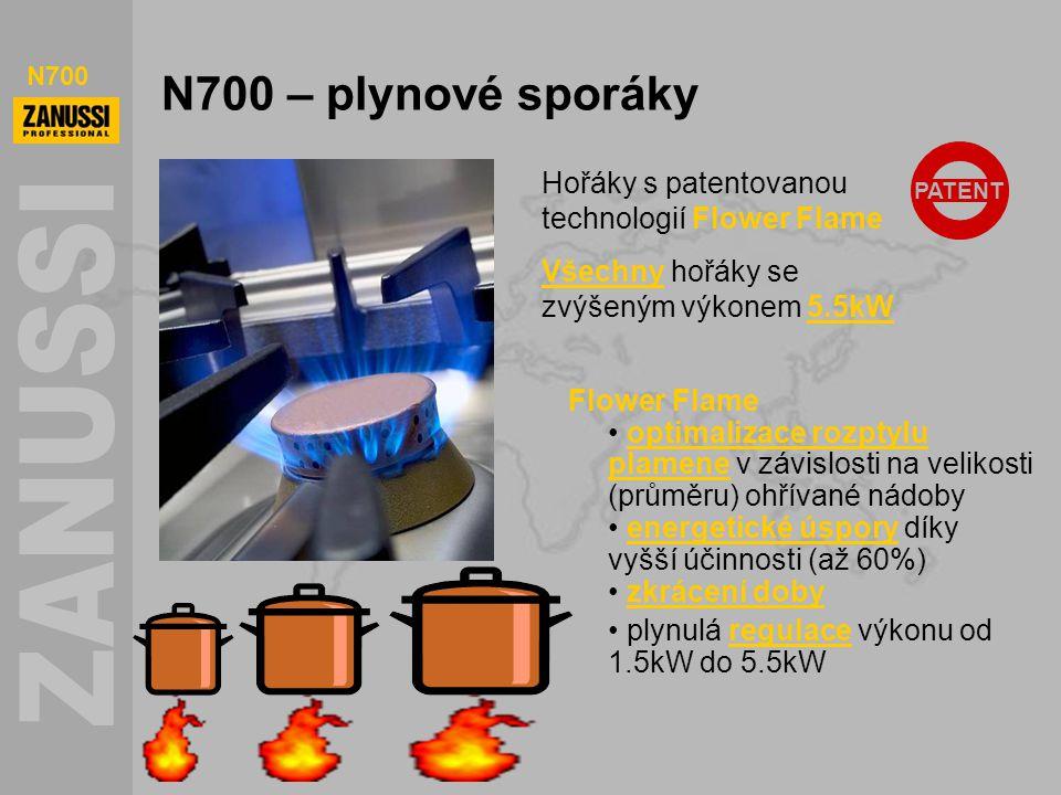 N700 N700 – plynové sporáky PATENT Flower Flame optimalizace rozptylu plamene v závislosti na velikosti (průměru) ohřívané nádoby energetické úspory d