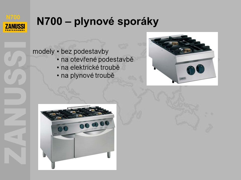 N700 N700 – plynové sporáky modely bez podestavby na otevřené podestavbě na elektrické troubě na plynové troubě