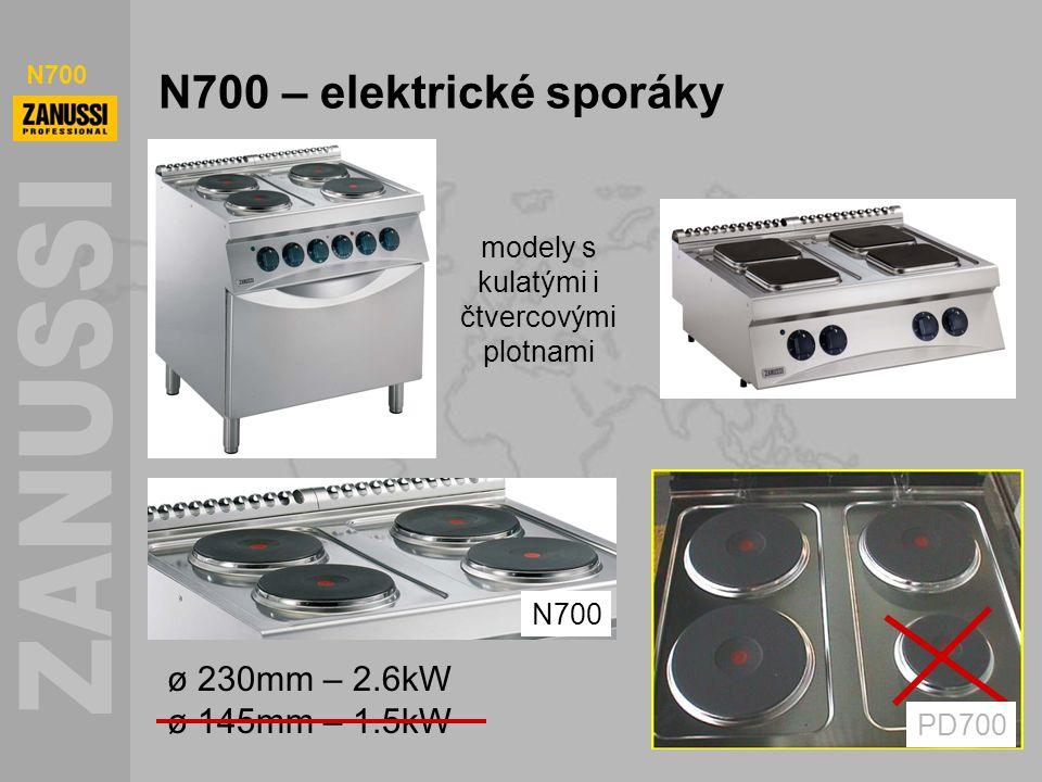 N700 N700 – elektrické sporáky modely s kulatými i čtvercovými plotnami N700 PD700 ø 230mm – 2.6kW ø 145mm – 1.5kW
