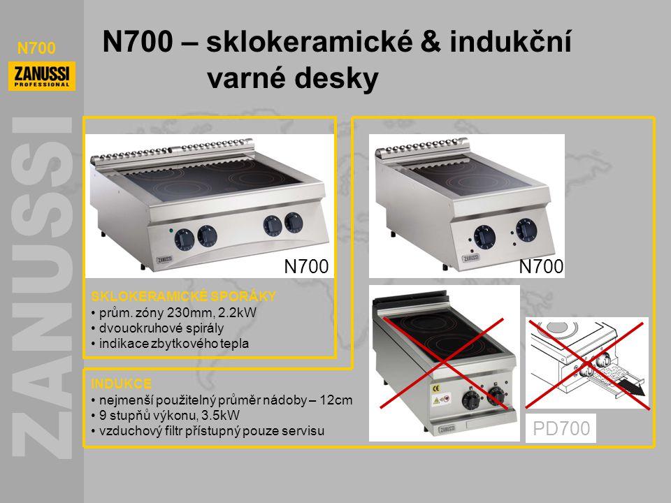 N700 N700 – sklokeramické & indukční varné desky INDUKCE nejmenší použitelný průměr nádoby – 12cm 9 stupňů výkonu, 3.5kW vzduchový filtr přístupný pou