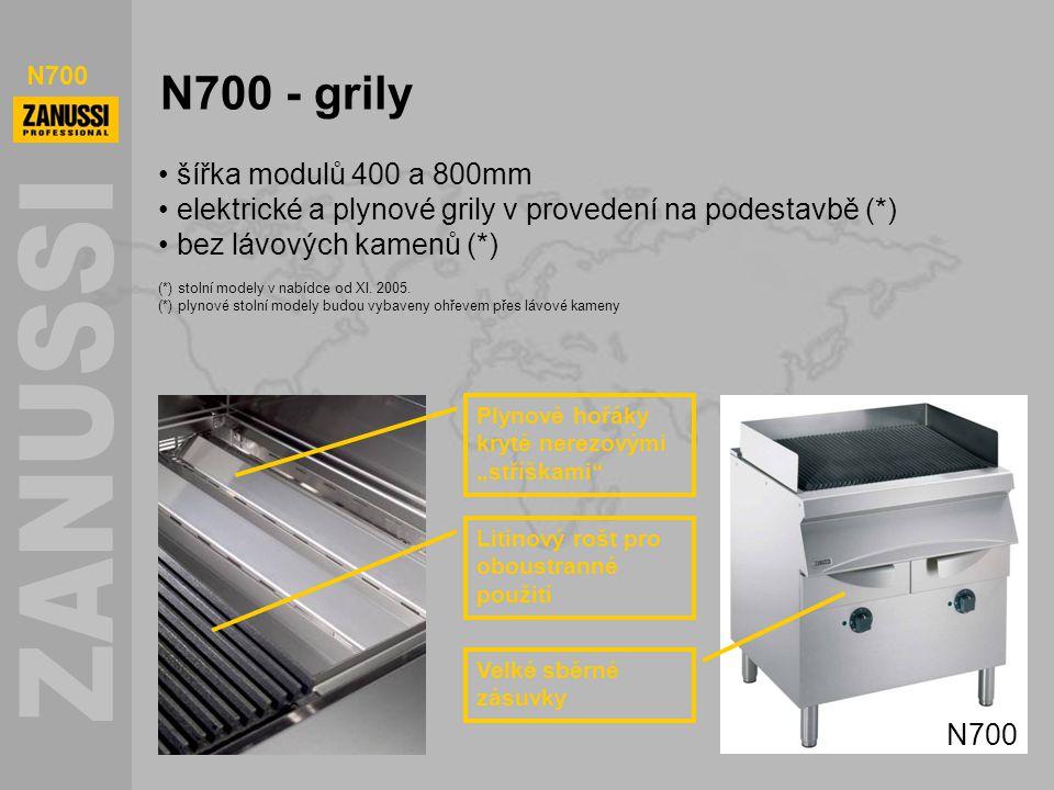 """N700 N700 - grily Velké sběrné zásuvky Litinový rošt pro oboustranné použití Plynové hořáky kryté nerezovými """"stříškami"""" šířka modulů 400 a 800mm elek"""
