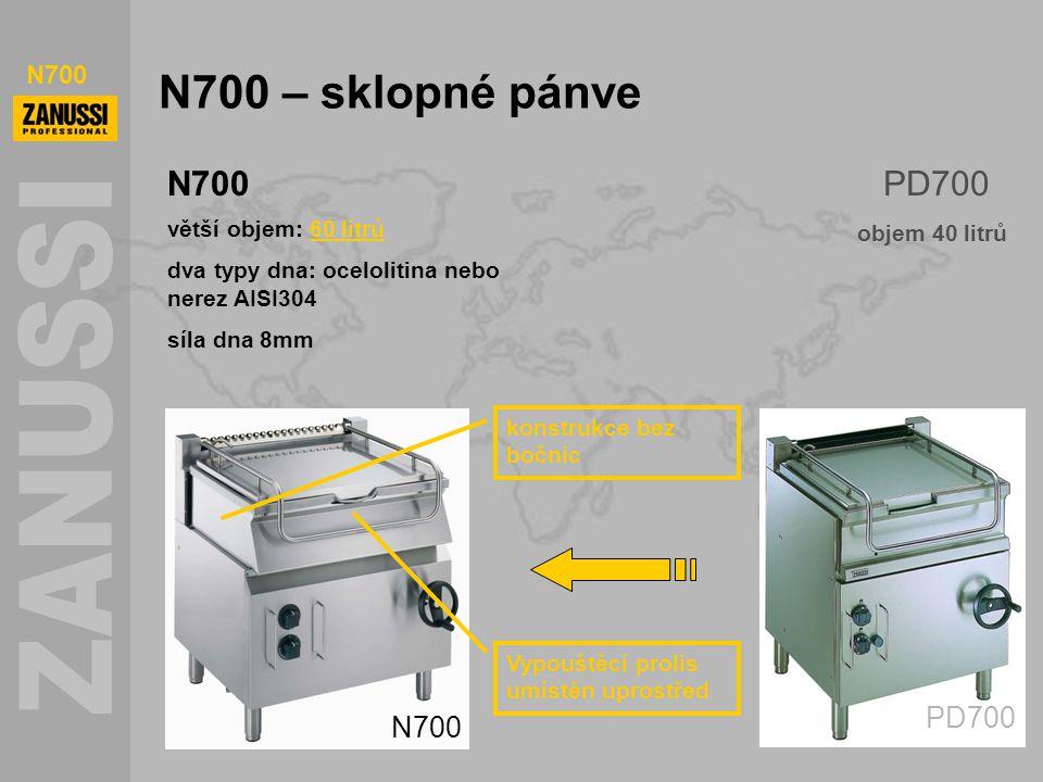 N700 – sklopné pánve N700 PD700 větší objem: 60 litrů dva typy dna: ocelolitina nebo nerez AISI304 síla dna 8mm N700 objem 40 litrů konstrukce bez boč