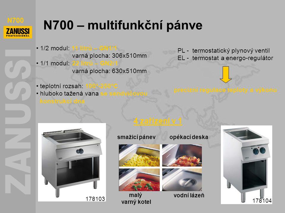 N700 N700 – multifunkční pánve 178103 178104 1/2 modul: 11 litrů – GN1/1 varná plocha: 306x510mm 1/1 modul: 22 litrů – GN2/1 varná plocha: 630x510mm t