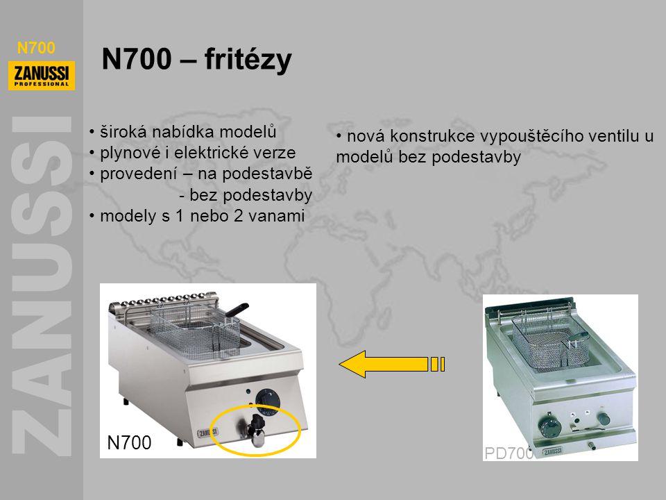 N700 N700 – fritézy N700 PD700 široká nabídka modelů plynové i elektrické verze provedení – na podestavbě - bez podestavby modely s 1 nebo 2 vanami no