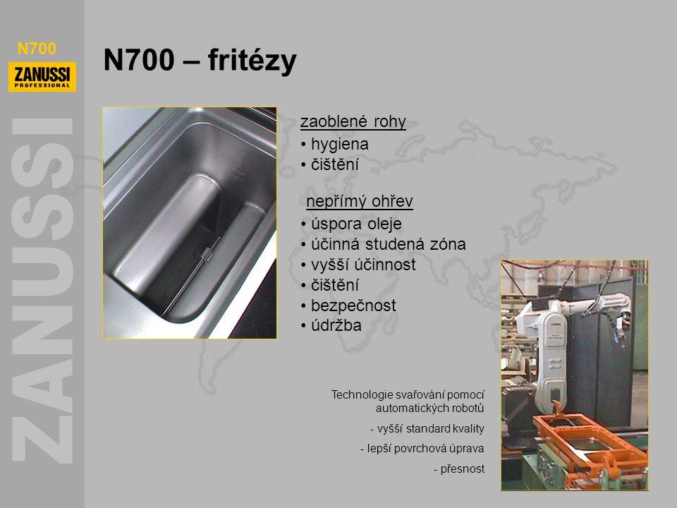 N700 N700 – fritézy zaoblené rohy hygiena čištění nepřímý ohřev úspora oleje účinná studená zóna vyšší účinnost čištění bezpečnost údržba Technologie