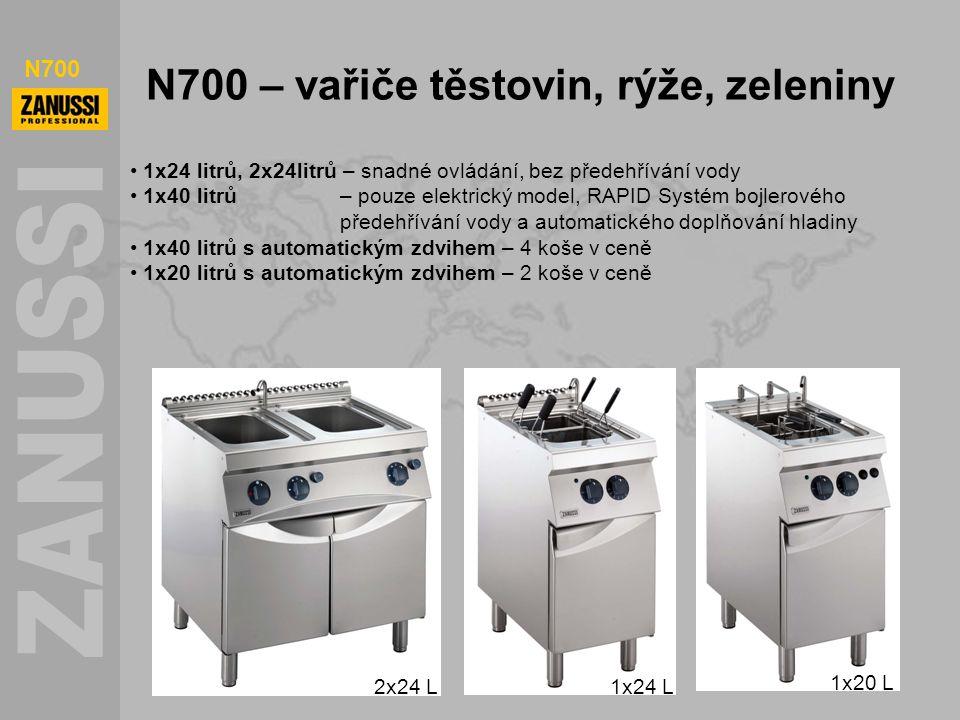 N700 N700 – vařiče těstovin, rýže, zeleniny 1x24 litrů, 2x24litrů – snadné ovládání, bez předehřívání vody 1x40 litrů – pouze elektrický model, RAPID