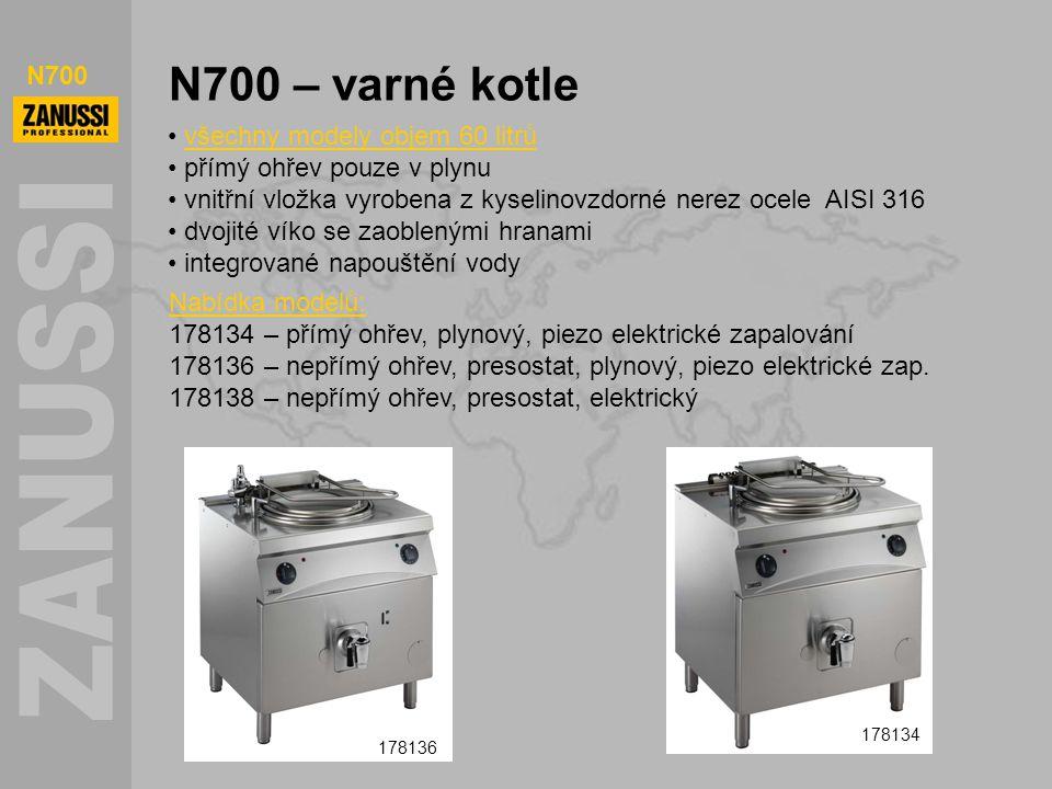 N700 N700 – varné kotle všechny modely objem 60 litrů přímý ohřev pouze v plynu vnitřní vložka vyrobena z kyselinovzdorné nerez ocele AISI 316 dvojité