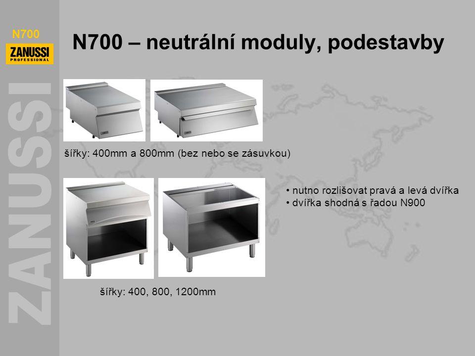 N700 N700 – neutrální moduly, podestavby šířky: 400mm a 800mm (bez nebo se zásuvkou) šířky: 400, 800, 1200mm nutno rozlišovat pravá a levá dvířka dvíř