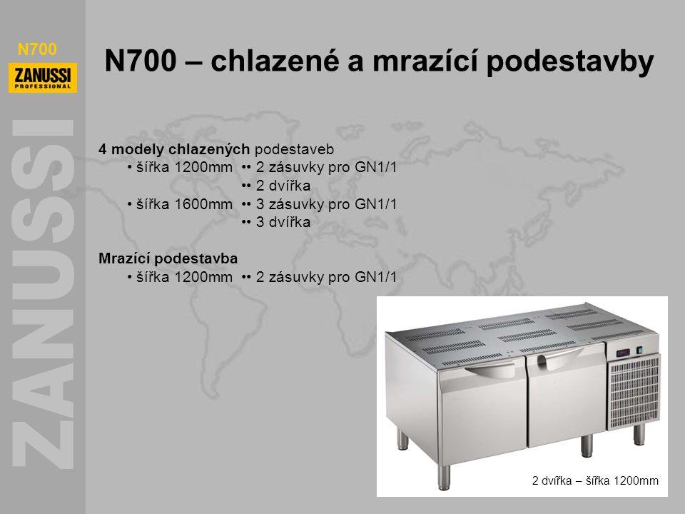 N700 N700 – chlazené a mrazící podestavby 4 modely chlazených podestaveb šířka 1200mm 2 zásuvky pro GN1/1 2 dvířka šířka 1600mm 3 zásuvky pro GN1/1 3