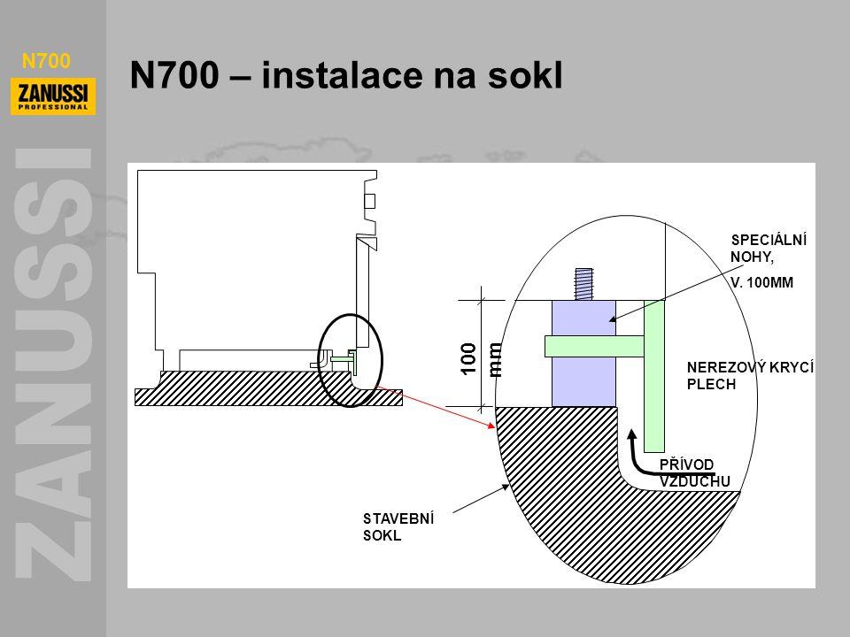 N700 N700 – instalace na sokl 100 mm PŘÍVOD VZDUCHU NEREZOVÝ KRYCÍ PLECH SPECIÁLNÍ NOHY, V. 100MM STAVEBNÍ SOKL