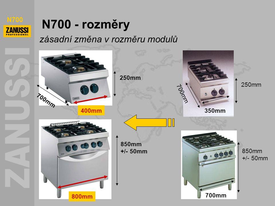 N700 N700 - rozměry zásadní změna v rozměru modulů 700mm 850mm +/- 50mm 250mm 700mm 850mm +/- 50mm 250mm 800mm 400mm 700mm 350mm