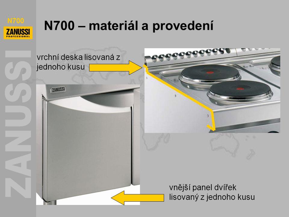 N700 N700 – materiál a provedení vrchní deska lisovaná z jednoho kusu vnější panel dvířek lisovaný z jednoho kusu