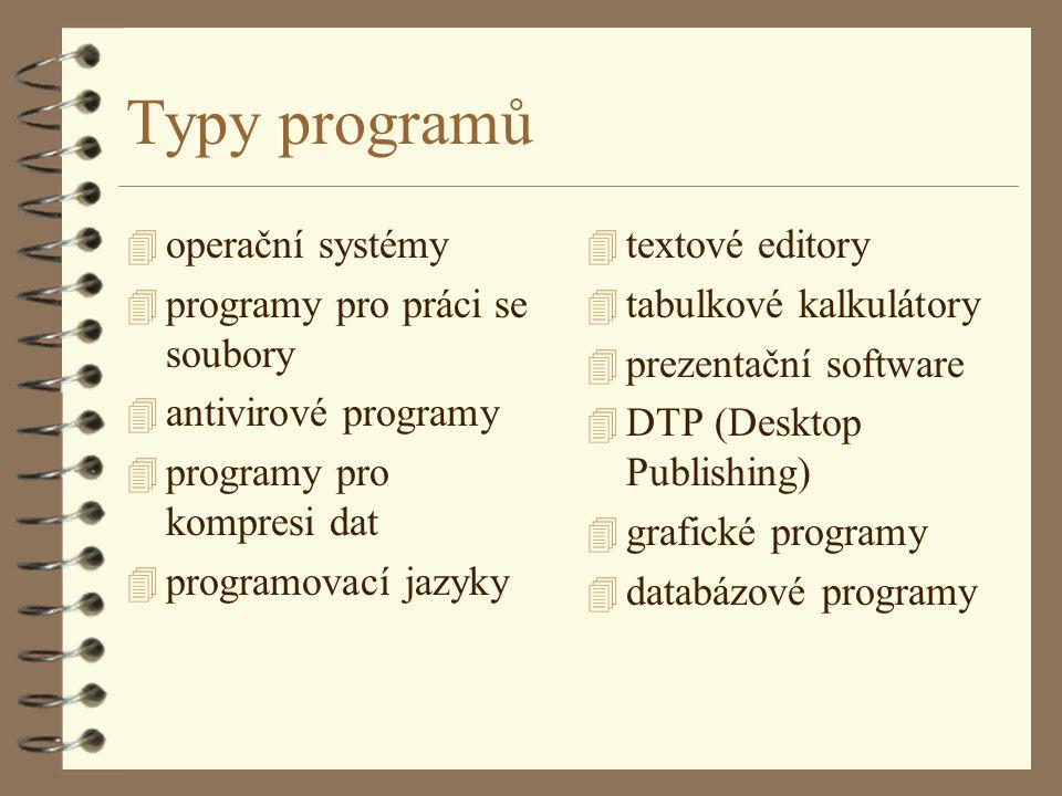 Operační systémy 4 Jsou prostředníkem mezi počítačem, ostatními programy a uživatelem, umožňuje též vytvářet, udržovat a spouštět uživatelské programy 4 každý počítač musí mít nějaký operační systém 4 dříve MS DOS, poté s nadstavbami MS Windows (umožňují současný běh několika programů a vzájemný přenos dat mezi nimi) 4 na naší fakultě máme v počítačových učebnách systém MS Windows NT - již nezávislý operační systém se schopností pracovat v síti 4 UNIX - víceúlohový OS (i pro PC)