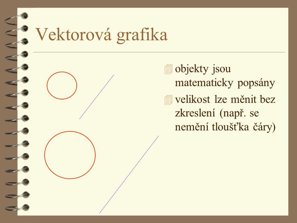 Vektorová grafika 4 objekty jsou matematicky popsány 4 velikost lze měnit bez zkreslení (např.
