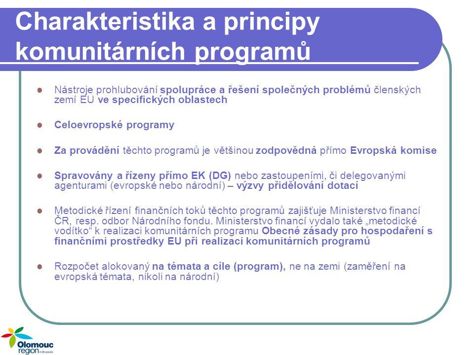 Charakteristika a principy komunitárních programů Podpora vybraných oblastí politik EU Financování záměrů, na které není příliš mnoho zdrojů v rámci ČR či strukturálních fondů Tyto programy jsou financovány přímo z rozpočtu EU Cíl programů: posílení evropského potenciálu v oboru Každý program má svá vlastní pravidla Evropské partnerství: nutnou podmínkou u většiny kom.programů Evropská přidaná hodnota Financování: 40 – 75%, nutné spolufinancování Příjemci: veřejné i soukromé subjekty
