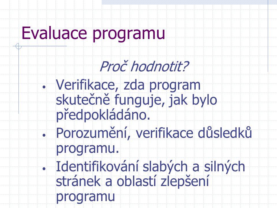 Evaluace programu Proč hodnotit? Verifikace, zda program skutečně funguje, jak bylo předpokládáno. Porozumění, verifikace důsledků programu. Identifik