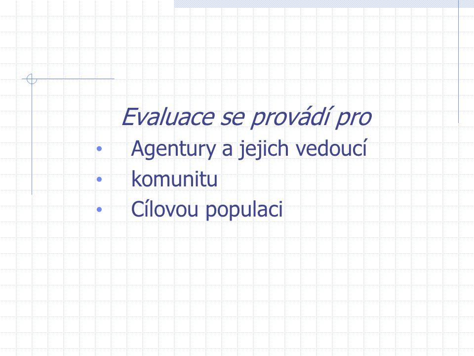 Evaluace se provádí pro Agentury a jejich vedoucí komunitu Cílovou populaci