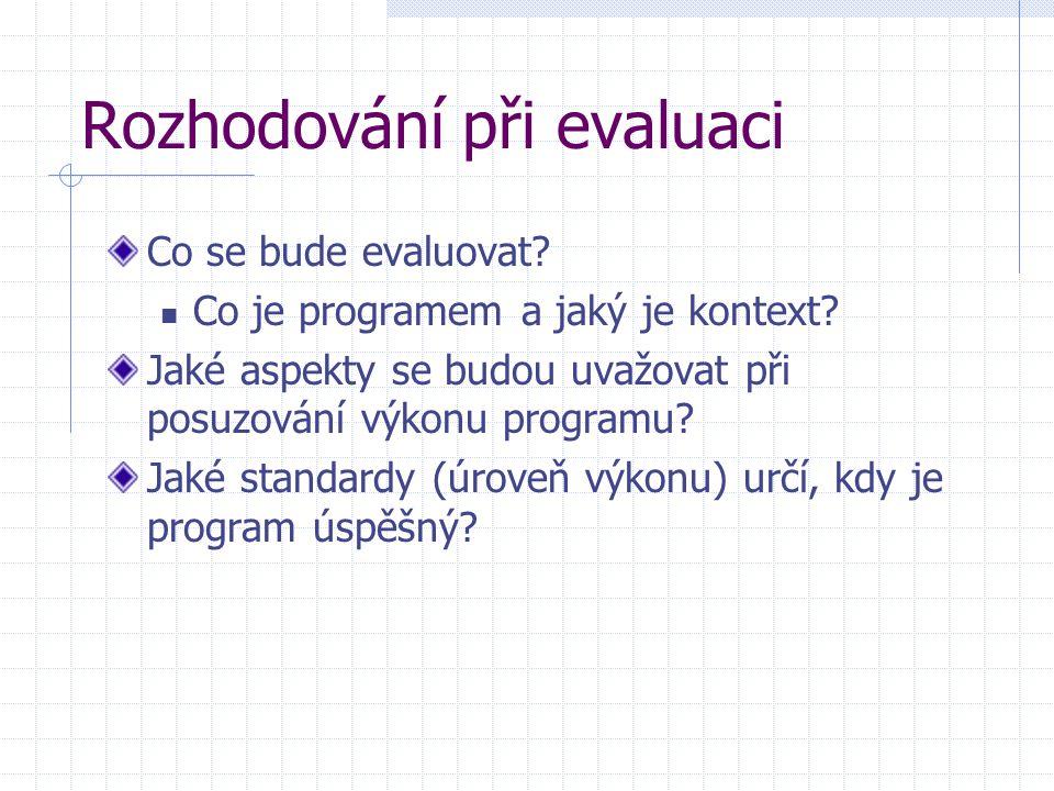 Rozhodování při evaluaci Co se bude evaluovat? Co je programem a jaký je kontext? Jaké aspekty se budou uvažovat při posuzování výkonu programu? Jaké