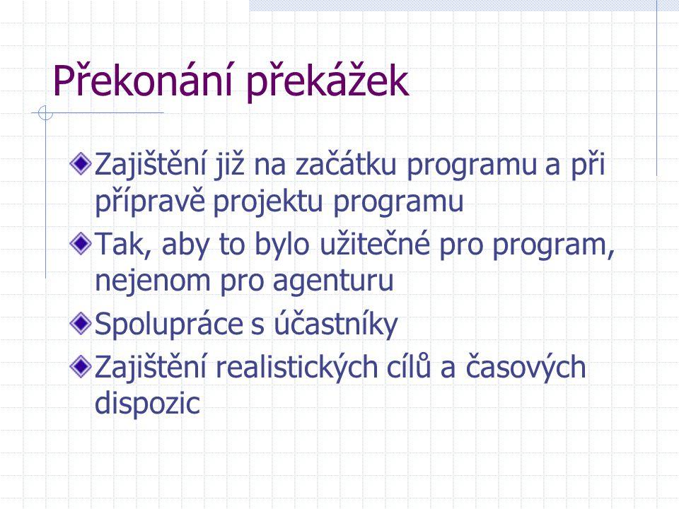 Překonání překážek Zajištění již na začátku programu a při přípravě projektu programu Tak, aby to bylo užitečné pro program, nejenom pro agenturu Spol