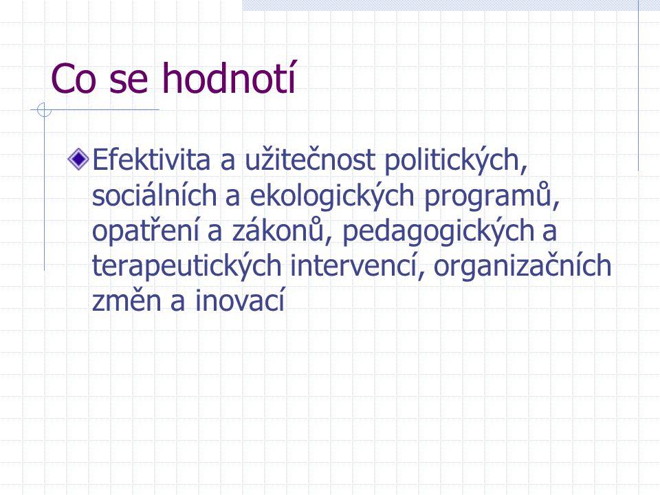 Co se hodnotí Efektivita a užitečnost politických, sociálních a ekologických programů, opatření a zákonů, pedagogických a terapeutických intervencí, o