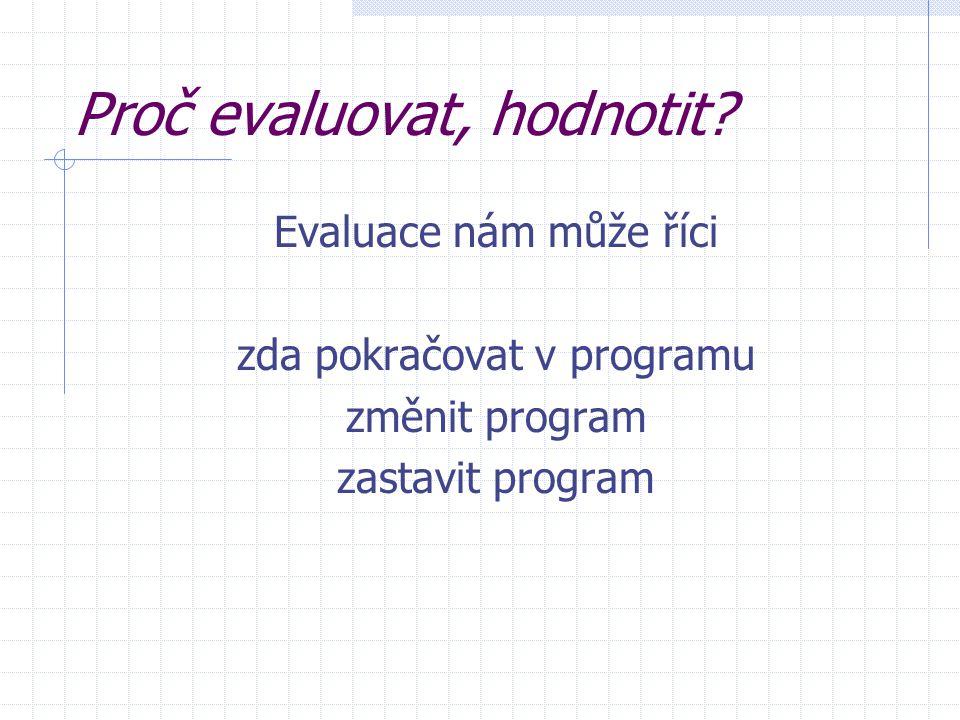 Souhrn Evaluace Poskytuje informace o programu pro plánování dalších programů Popisuje a verifikuje, co se skutečně implementovalo Demonstruje změny Poskytuje zpětnou vazbu účastníkům