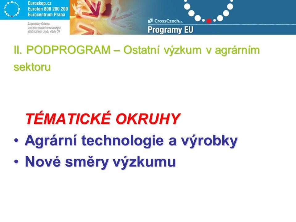 II. PODPROGRAM – Ostatní výzkum v agrárním sektoru TÉMATICKÉ OKRUHY Agrární technologie a výrobkyAgrární technologie a výrobky Nové směry výzkumuNové