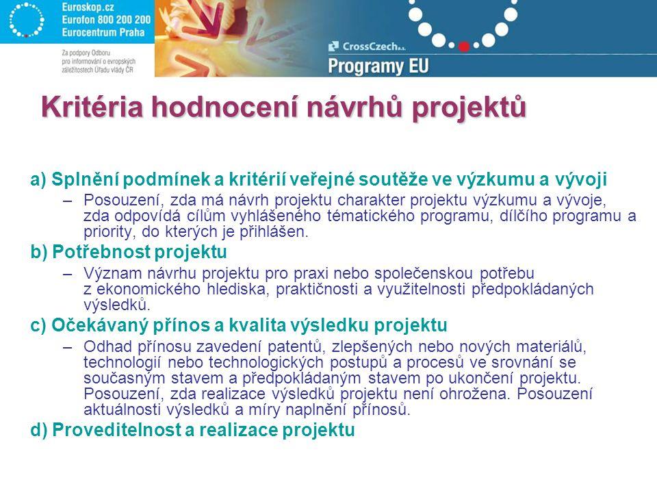 Kritéria hodnocení návrhů projektů a) Splnění podmínek a kritérií veřejné soutěže ve výzkumu a vývoji –Posouzení, zda má návrh projektu charakter proj