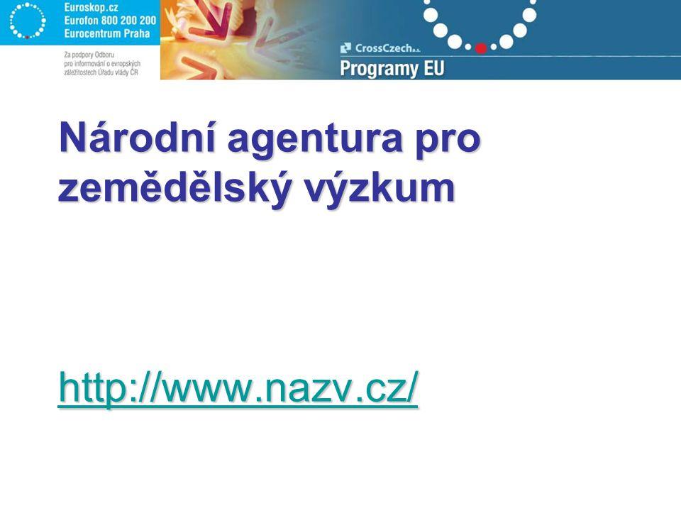 Národní agentura pro zemědělský výzkum http://www.nazv.cz/ http://www.nazv.cz/