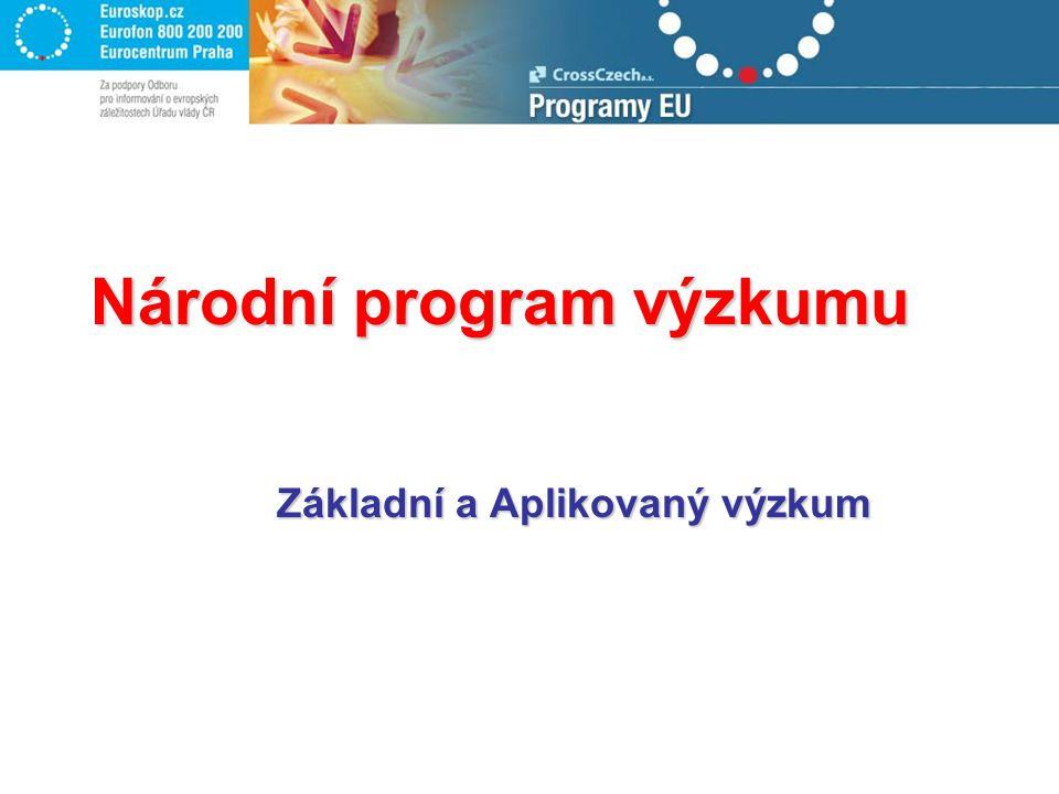 Úspěšnost projektů: ROK 2004: každý 3 projekt ROK 2005: každý 6 projekt Národní program výzkumu: TP1 podáno 14 projektů, úspěšné 3 TP3 podáno 95 projektů, úspěšných 16 projektů.