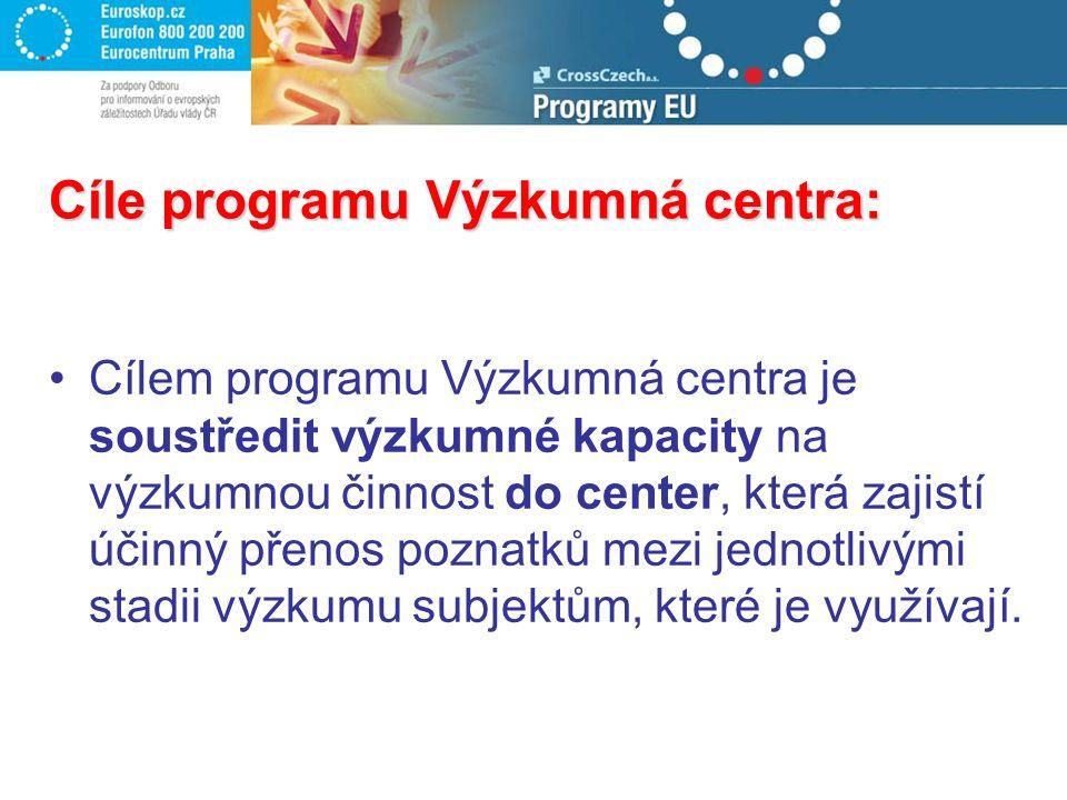 Cíle programu Výzkumná centra: Cílem programu Výzkumná centra je soustředit výzkumné kapacity na výzkumnou činnost do center, která zajistí účinný pře