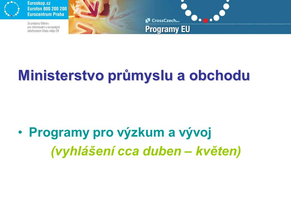 Ministerstvo průmyslu a obchodu Programy pro výzkum a vývoj (vyhlášení cca duben – květen)