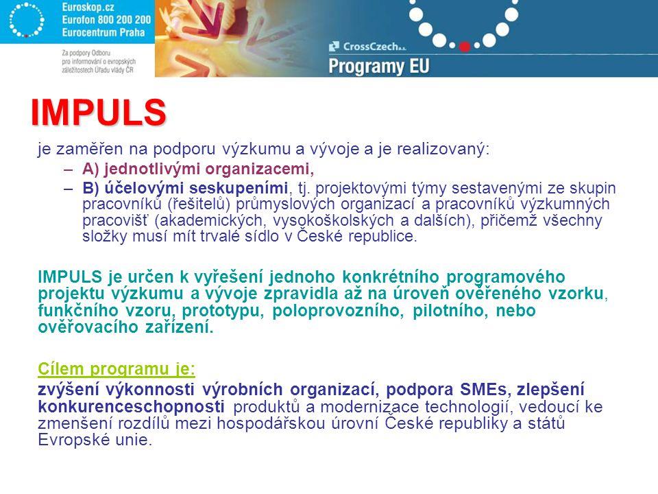 IMPULS je zaměřen na podporu výzkumu a vývoje a je realizovaný: –A) jednotlivými organizacemi, –B) účelovými seskupeními, tj. projektovými týmy sestav