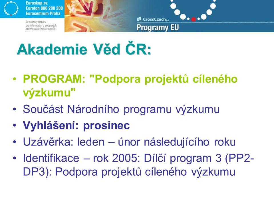 Akademie Věd ČR: PROGRAM: