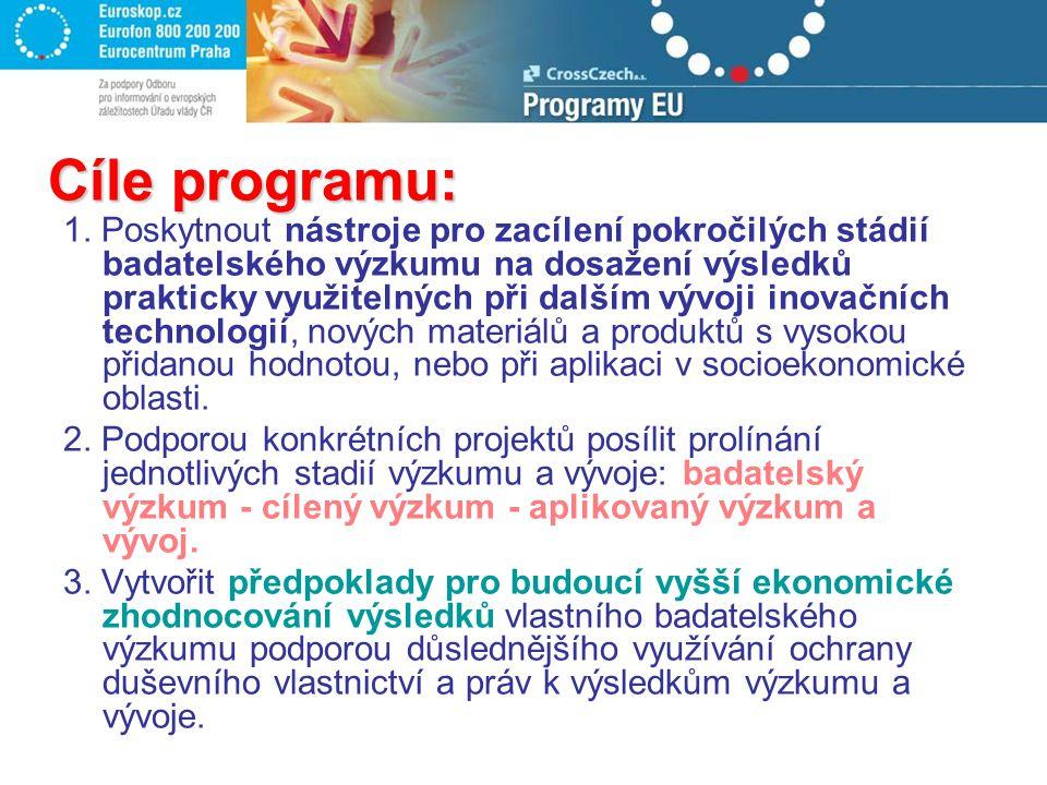 Cíle programu: 1. Poskytnout nástroje pro zacílení pokročilých stádií badatelského výzkumu na dosažení výsledků prakticky využitelných při dalším vývo