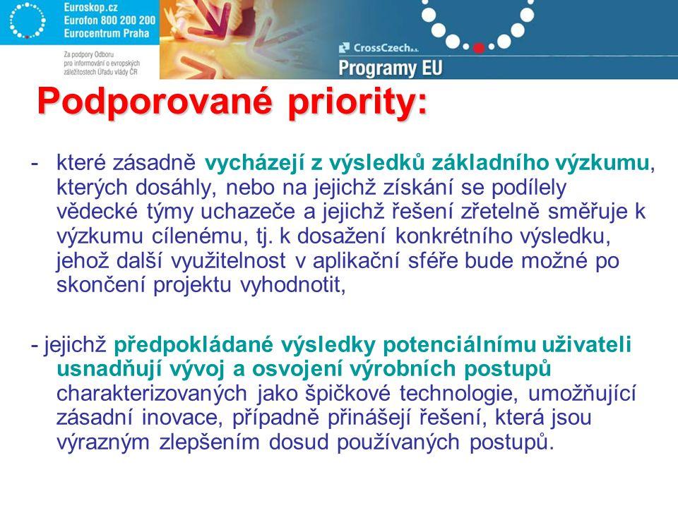 Podporované priority: -které zásadně vycházejí z výsledků základního výzkumu, kterých dosáhly, nebo na jejichž získání se podílely vědecké týmy uchaze
